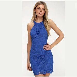 Lulus Women's Love Poem Lace Dress Blue